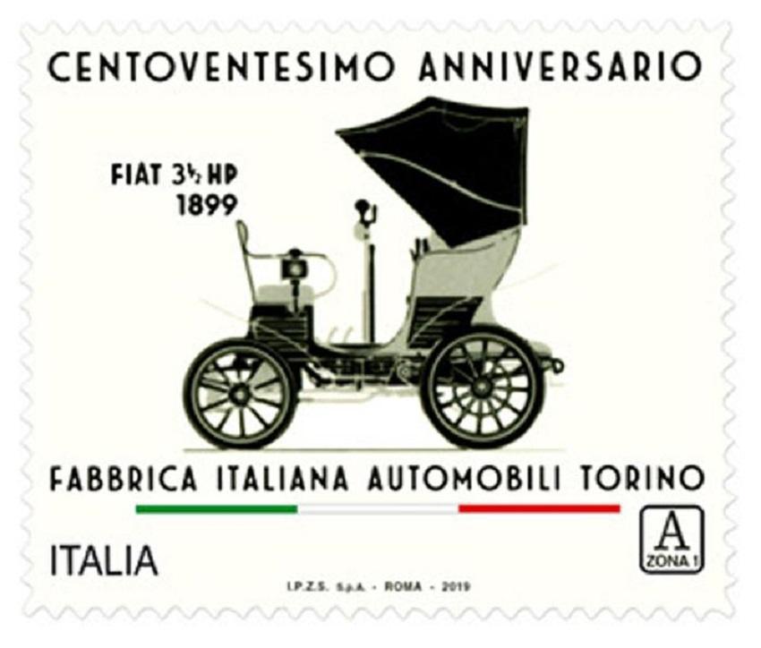 La prima Fiat nel francobollo che celebra i 120 anni.