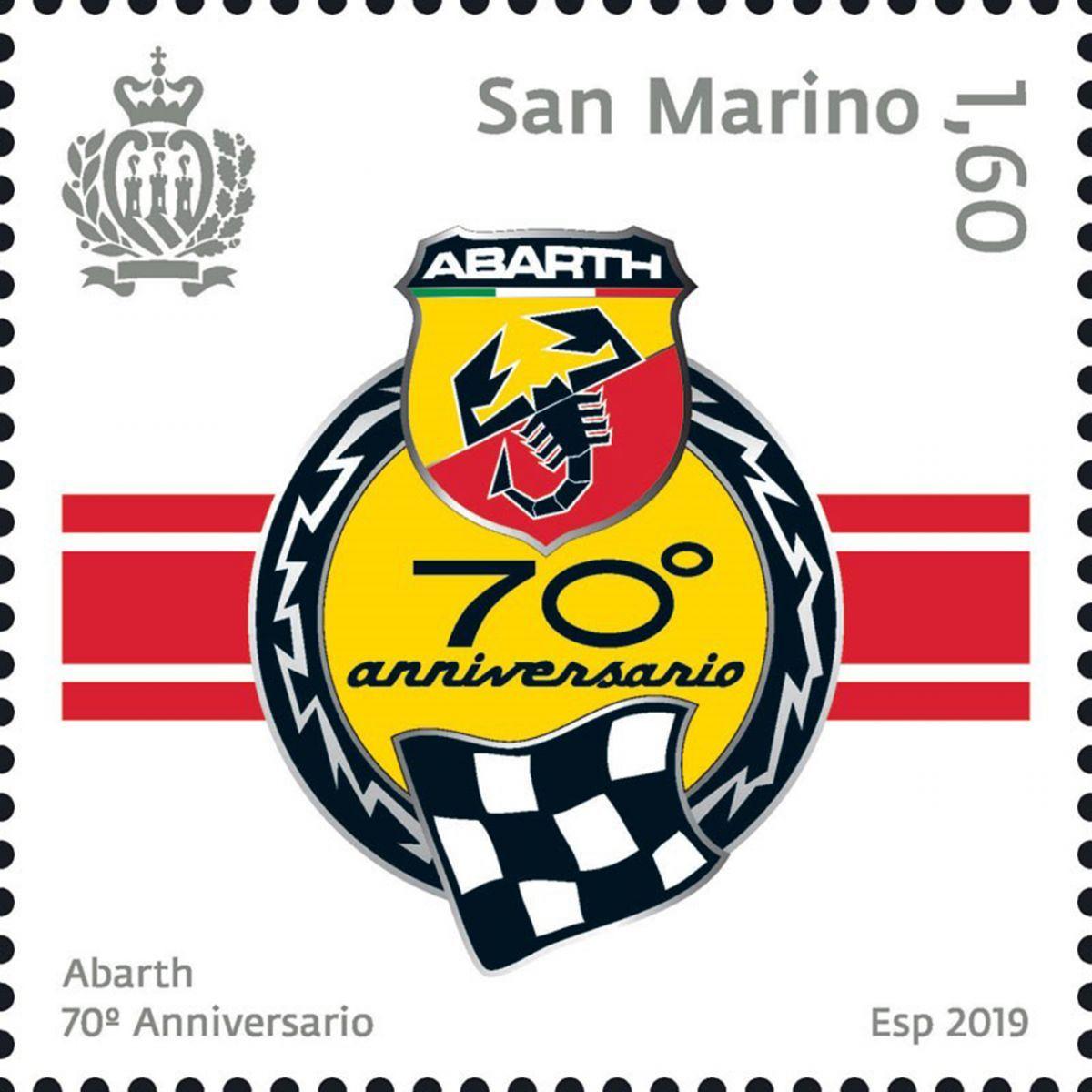 Un francobollo celebrativo per il 70° anniversario dell'Abarth.