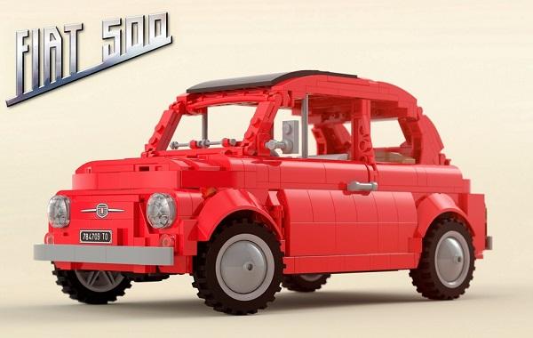 Modellino-prototipo di una Fiat 500F.