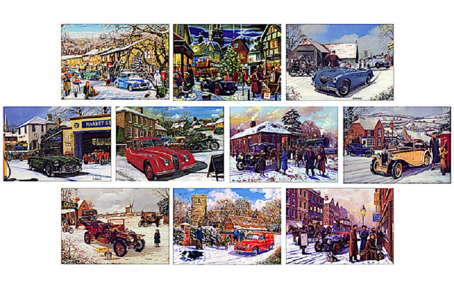 Il Natale arriva in auto, da UK cartoline di auguri d'autore.