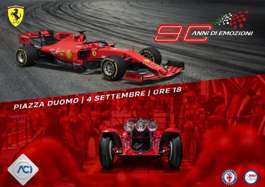 Aci e Ferrari festeggiano al Duomo per 90 anni Rossa e GP d'Italia.